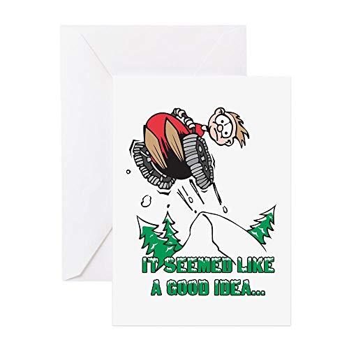 CafePress Lustige Schneemobil-Grußkarte, Notizkarte, Geburtstagskarte, blanko Innenseite matt -