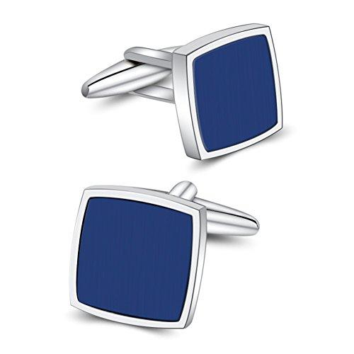 Mr.Van Blue Onyx Cufflinks Platinum Plated Classic Fashion Cuff Links Set Gemstone Reiki jewelry for Mens Business Wedding Party Christmas Gift Present