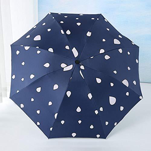 Protección Solar Sombrilla de Agua Cambio de Color de la sombrilla Mujer Paraguas Plegable Lindo Pequeño Lluvia Fresca Doble Uso Protector Solar Mujer @ Marina (Cuentas de Agua Que cambian de Color)