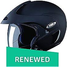 (Renewed) Studds Marshall SUS_MOFH_MBLKL Open Face Helmet (Matt Black, L)