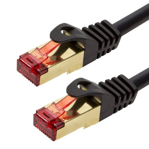 Cat5e Patch-kabel Ethernet-kabel (BIGtec Premium 30m Gigabit Ethernet LAN Kabel Patchkabel Netzwerkkabel schwarz - doppelt geschirmt - vergoldet)