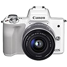 "Canon EOS M50 - Kit de cámara EVIL de 24.1 MP y vídeo 4K con objetivo EF-M 15-45mm IS MM (pantalla táctil de 3"", estabilizador óptico, Wifi), color blanco"