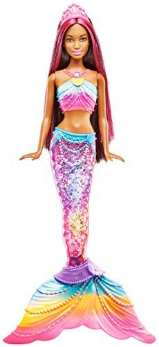 Barbie Mermaid Muñeca Dreamtopia Sirena Luces de Arcoiris Morena, (Mattel FTG79)