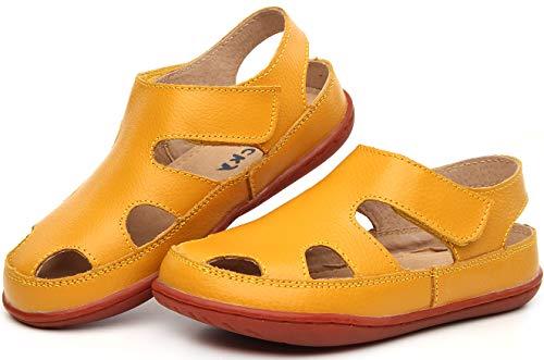 Gaatpot Unisex-Kinder Sandalen Mädchen Jungen Kindersandale Geschlossene Baby Sommer Leder Sandale Lauflernschuhe Schuhe Gelb 23.5 EU/23 CN