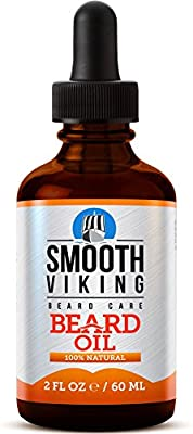 Beard Oil for Men - Use With Balm and Conditioner for the Best Facial Hair Grooming Kit - Relieves Itching for Easy Beard Growth - With Argan Oil, Jojoba Oil, Vitamin E and More - 2 OZ - Smooth Viking by Skin Melody