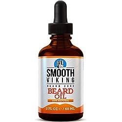Aceite de barba para hombres - Utilice con bálsamo y acondicionador para tener el mejor kit de tratamiento facial - Alivia el picor para un crecimiento fácil de la barba - Con aceite de argán, aceite de jojoba, vitamina E y más – 60ml - Smooth Viking