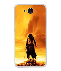 PrintVisa Warior Holding Sword High Gloss Designer Back Case Cover for Micromax Canvas Play Q355