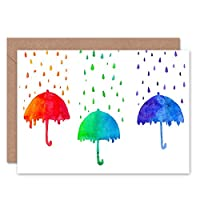 RED GREEN BLUE RAIN UMBRELLAS BLANK GREETINGS BIRTHDAY CARD ART