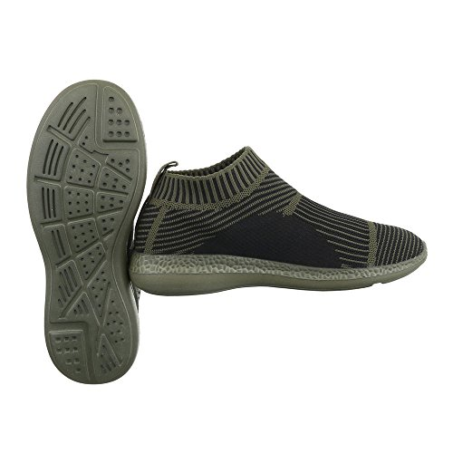 Slipper Damenschuhe Herrenschuhe Leichte Unisex Sneakers Ital-Design Halbschuhe Grün Olive