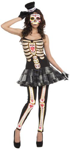 rum Novelties AC618 Day Of The Dead Tutu Kleid (UK Größe 10-14) (Spooky Make Up Ideen)
