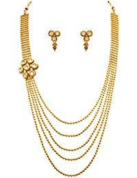 JFL - Traditional Ethnic One Gram Gold Plated Real Kundan Designer Necklace Set With Earring For Women And Girls.
