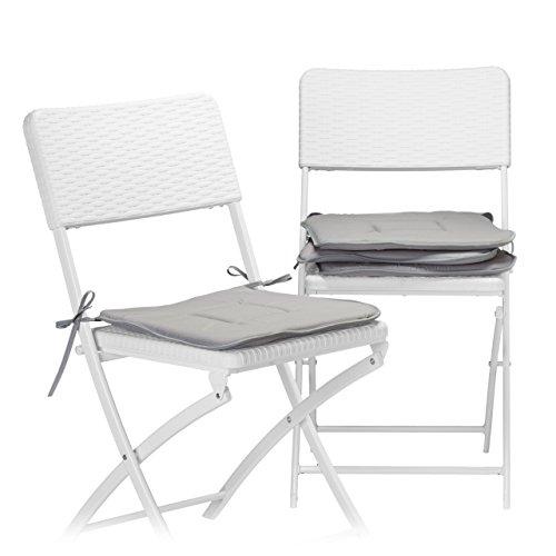 Relaxdays Stuhlkissen 4er Set 40x40 cm in grau, Sitzkissen mit Schleife, Auflage für Stühle in Haus und Garten, waschbar, Stuhlauflage aus Polyester, anthrazit
