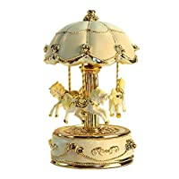 Cotangle-JJ Windup music box Carousel Music Box, Flower Design, Birthday Gift For Kids Girls Friends (Color : Picture Color, Size : 9X9X15.5CM)