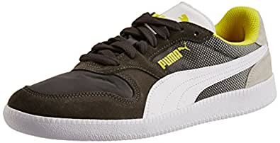 Puma Men's Icra Trainer Shades Dark Shadow-White-Gray Leather Running Shoes - 11 UK /India(46EU)