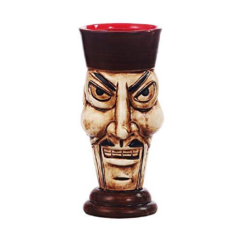 Zombie Glas (TkMog Tiki Cup Verschiedene Arten von Keramikbechern Cocktailglas mit Individualität Barbecher Kaltgetränkbecher Becher Keramikmaterial Manuelle Produktion-Mr.Zombie 435 ml)