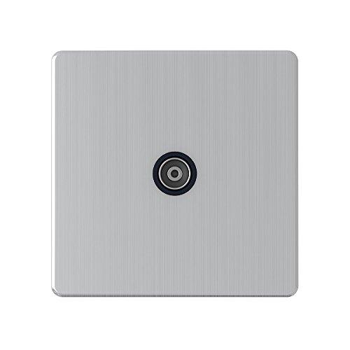 AET sl1gtvbl 1-Gang schraubenlos TV-Steckdose mit schwarzem Einsatz -