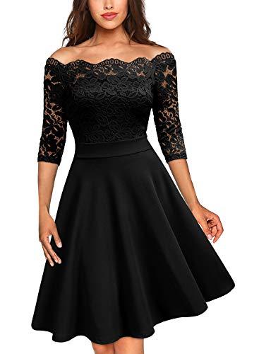 MISSMAY Damen Vintage Abendkleid 1950er 3/4 Arm Off Schulter Cocktailkleid Spitzen Schwingen Pinup Rockabilly Kleid Schwarz XL