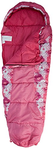 Trespass Bunka Kids Essential Mummy Sleeping Bag for 3-12 Years Boys & Girls 170 x 65 x45 cm, Pink, Candyburst Print