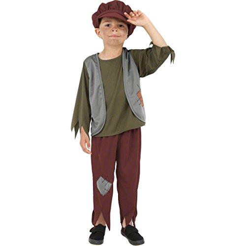 NET TOYS Kinder Bauernkostüm Bettler Kostüm Mehrfarbig M 140 cm Bettlerkostüm Junge Mittelalterkostüm Kinder Kinderkostüm - Bauern Kostüm Kinder