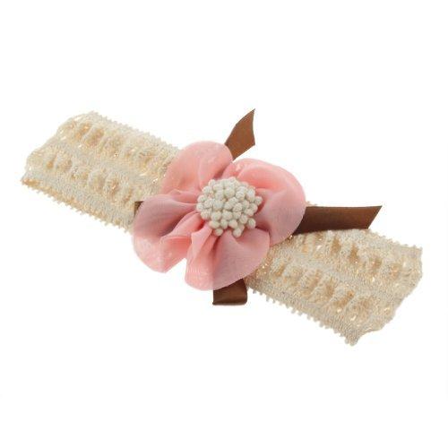 TOOGOO(R) Bandeau de dentelle avec une fleur de mousseline de soie Rose pale pour les enfants