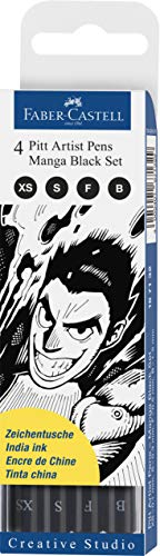 Una cartera de 4 corrales especialmente seleccionados para 'Manga' estilo de dibujo. Estas plumas artista Pitt son convenientes para bocetos, estudios y dibujos a tinta. Alta luz-fast, impermeable dibujo libre.