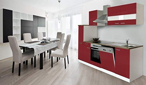 respekta Küche Küchenzeile Einbauküche Küchenblock 250 cm Weiss Rot Soft Close Ceran
