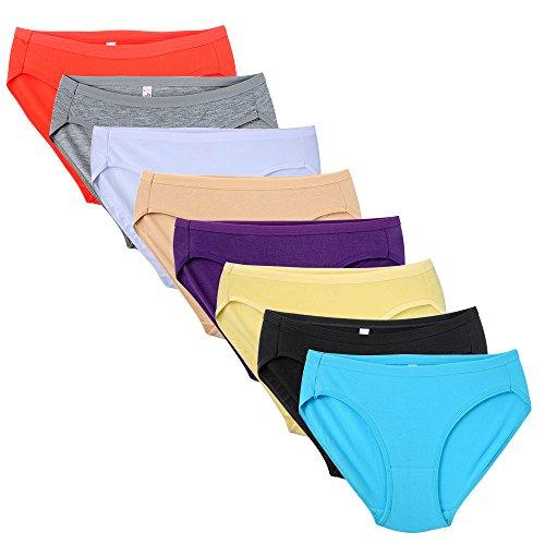 Closecret Damen Bequeme, elastische Bikini-Slips aus Baumwolle (8er-Pack) (8 Farben, S(Taille:66-69cm)) (Calvin Stretch-höschen)