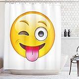 ABAKUHAUS Emoji Rideau de Douche, Dessin Animé Technologic Smiley Flirty Sarcastique Visage Heureux avec Tongue Modern Print, Moderne, Impression numérique, 175 x 200 cm, Jaune...