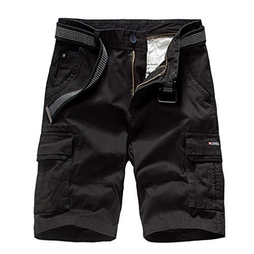 Digital Camo Cargo Short (Cargo Shorts,Herren Multi-Taschen Baumwolle Kurze Hosen mit Gürtel Arbeitshose GreatestPak,Schwarz,34(XL))