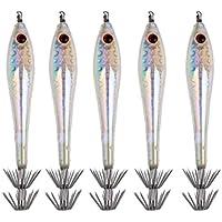 MagiDeal Resplandor de 9,5cm En Pescados Luminosos Oscuros de Pesca Atrae Ganchos de Jigs de Calamar - Blanco