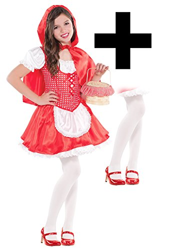 Red Riding Hood + Tights Girls Fancy Dress World Book Day Kids Childrens Costume