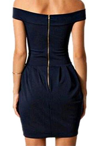 Monissy Femme Robe Dos Nu Col Bateau Manches Courtes Sexy Mini Robe Noir Fermeture Eclair Noir