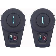 Intercomunicador Moto Auriculares Inalámbricos Dual Estéreo de Cascos Bluetooth Motocicleta Interfono Intercom con Micrófono Manos Libres Comunicación 500M / Conexión Multipunto ( 1 Par )