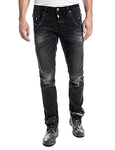 Timezone Claymoretz, Jeans Homme, Noir-Schwarz (Pirate Wash 9200), Taille 39/40-Longueur 34