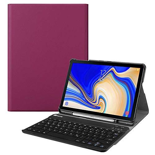 Fintie Tastatur Hülle für Samsung Galaxy Tab S4 T830 / T835 (10.5 Zoll) 2018 Tablet-PC - Ultradünn Schutzhülle mit magnetisch Abnehmbarer drahtloser Deutscher Bluetooth Tastatur, Lila - S4 Deckt Galaxy Samsung Tablet