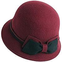 Sombrero de Copa Sombrero de Copa Moda de otoño e Invierno Sombrero Salvaje Sombrero de Lavabo Retro británico Boina (opción de 3 Colores) (Color : Vino Rojo)