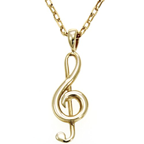 9ct Gold Anhänger Notenschlüssel Halskette mit 45,7cm Gold Kette (Violinschlüssel Halskette Gold)