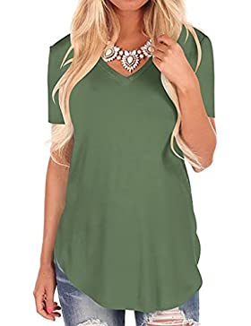 Magic Zone Manga Corta Para Mujer Camiseta Casual Suelta Camiseta con Cuello EN V Irregular T Shirt