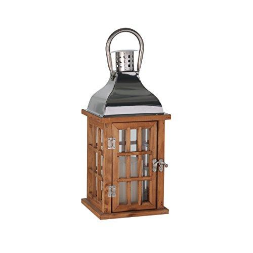 greemotion Holz-Laterne naturfarben inklusive LED-Kerze, Deko-Laternen mit Edelstahldach, Gartenlampe mit praktischer Tür, Deko-Laterne mit Griff zum Tragen und Aufhängen, Maße: ca. 15 x 15 x 32 cm