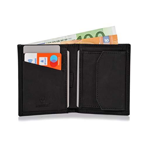 Donbolso Leder Geldbörse Rom - Geldbeutel klein mit RFID Schutz - Mini Portemonnaie für Herren und Damen - Slim Wallet mit Münzfach - Schwarz - Schwarz Leather Slim Wallet