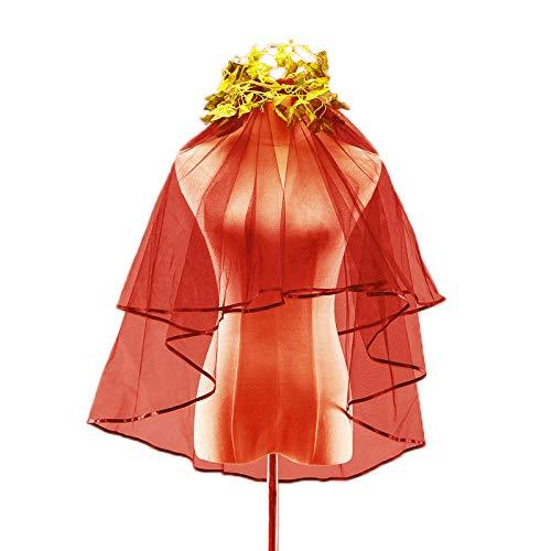Brautschleier mit Kamm Band Rand Zentrum Kathedrale Länge Spitze Appliques schönes Haar kurz 65 * 85 * 140cm,Rot -