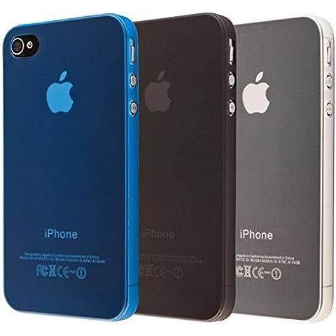 ECENCE Apple iPhone SE / 5 5S Juego de 3 x Protective TPU funda de silicona de gel Juego de 3, negro, azul, transparente