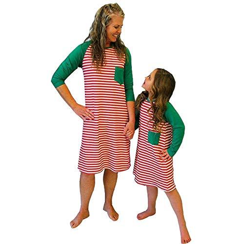 Familie Passend Zu Weihnachts-Pyjamas, Rot Gestreifte Pj-Sets für Mädchen Mommy Kleid Sleepwear Raglan Nachtwäsche -