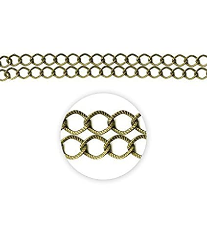 Blue Moon Beads ZG-001-20584 Metal Chain with Twisted Textured Cable, 35-Inch, Oxidized Brass