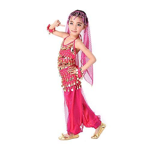 SymbolLife Girls Kinder Mädchen Bauchtanz Kostüm Set Tanzkleid Kinder Tanzkleidung Karneval Kindertag Kostüme Darbietungen Tanzkostüme, Das Obere + Pluderhosen + Kopftuch Rosa