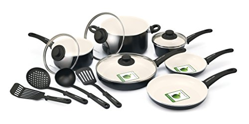 GreenLife 14 Piece Nonstick Ceramic Cookware Set with Soft Grip, Black by GreenPan