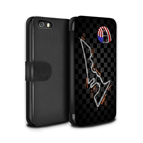 Stuff4 Coque/Etui/Housse Cuir PU Case/Cover pour Apple iPhone 5/5S / Espagne/Catalogne Design / 2014 F1 Piste Collection USA/Austin