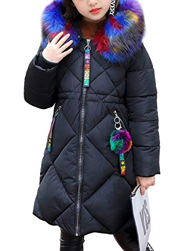 5c38f0b70e Girl s Puffer Down Coat Winter Jacket with Faux Fur Trim Hood Black Tag  160-10