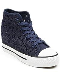 Ideal Shoes - Baskets compensées en crochet Kania