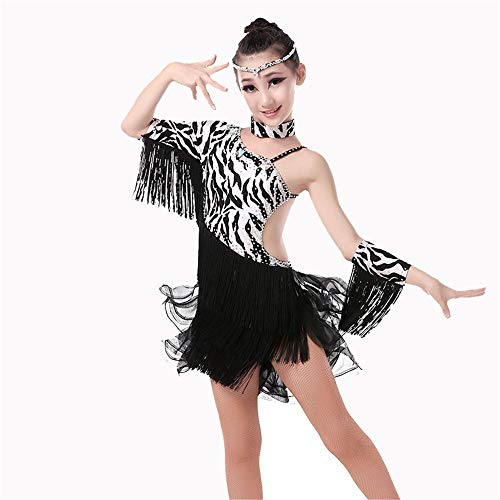 Peggy Gu Kostüm Cosplay Prinzessin Mädchen Kinder Kinder Fringe Performance Ballsaal Kostüm Salsa Tango Tassel Latin Dance Dress Schicke Party (Farbe : Schwarz, Größe : 150)
